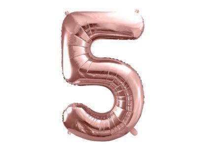 Różowe złoto balon foliowy w kształcie cyfry 5