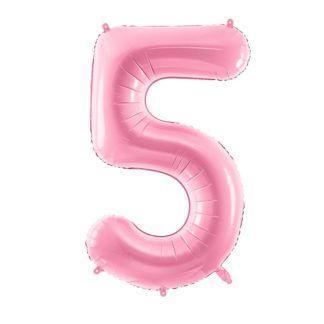 Różowy balon foliowy w kształcie cyfry 5