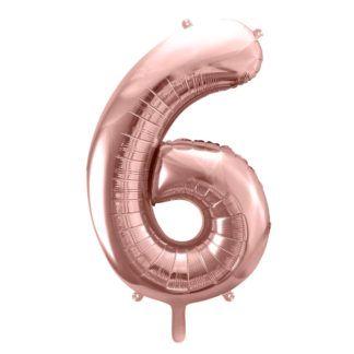 Różowe złoto balon foliowy w kształcie cyfry 6