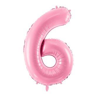 Różowy balon foliowy w kształcie cyfry 6