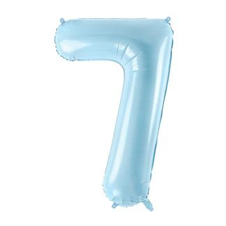 Niebieski balon foliowy w kształcie cyfry 7