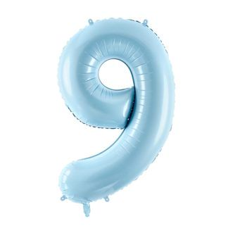 Niebieski balon foliowy w kształcie cyfry 9