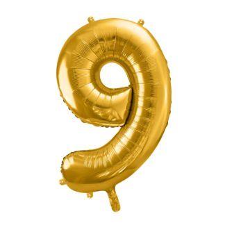 Złoty balon foliowy w kształcie cyfry 9