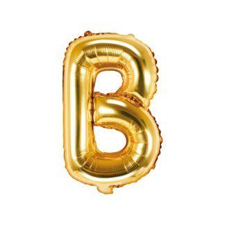 Złoty balon foliowy w kształcie litery B