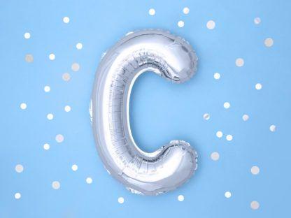 Srebrny balon foliowy w kształcie litery C