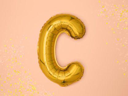 Złoty balon foliowy w kształcie litery C
