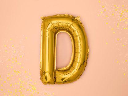 Złoty balon foliowy w kształcie litery D