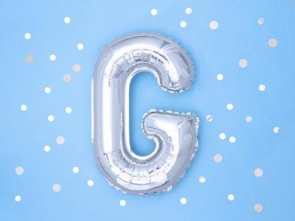 Srebrny balon foliowy w kształcie litery G