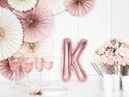 Różowe złoto balon foliowy w kształcie litery K
