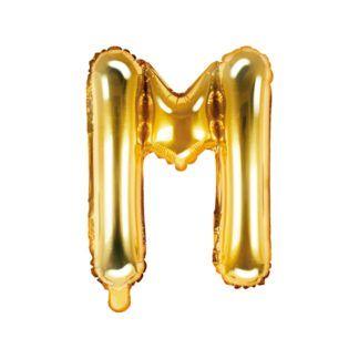 Złoty balon foliowy w kształcie litery M
