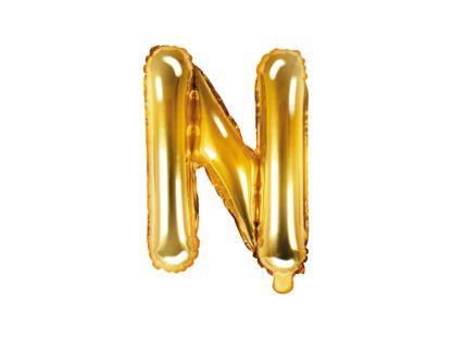 Złoty balon foliowy w kształcie litery N