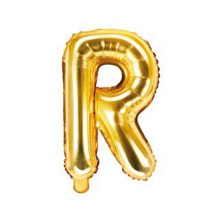 Złoty balon foliowy w kształcie litery R