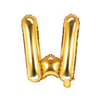 Złoty balon foliowy w kształcie litery W
