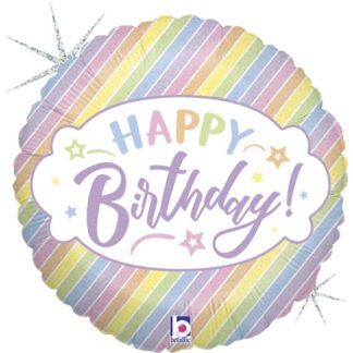 """Pastelowy balon foliowy z napisem """"happy birthday"""""""