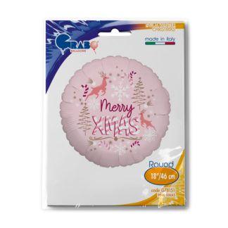 """Różowy balon foliowy z napisem """"Merry Xmas"""""""