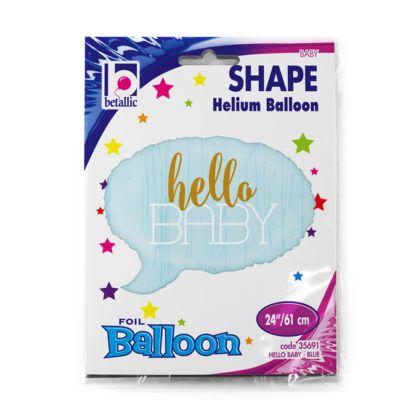 """Niebieski balon foliowy w kształcie chmurki z napisem """"Hello Baby"""""""