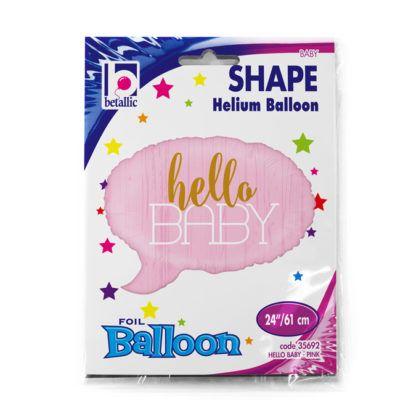 """Różowy balon foliowy w kształcie chmurki z napisem """"Hello Baby"""""""