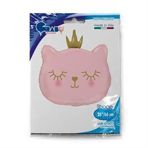 Balon foliowy w kształcie różowego kotka z koroną