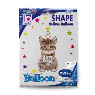 Balon foliowy w kształcie urodzinowego kotka