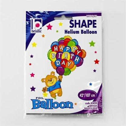 Balon foliowy w kształcie misia trzymającego dużo balonów