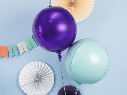 Miętowy i granatowy balony foliowe w kształcie kul