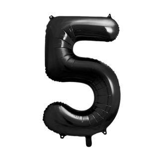 Czarny balon foliowy w kształcie cyfry 5
