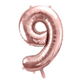 Różowe złoto balon foliowy w kształcie cyfry 9