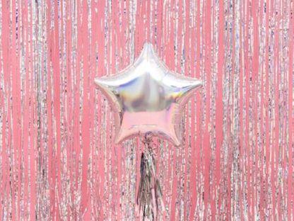 Opalizujący balon foliowy w kształcie gwiazdki i kurtyna party