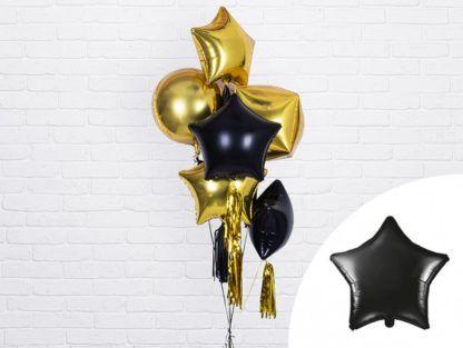 Czarne i złote balony foliowe gwiazdki