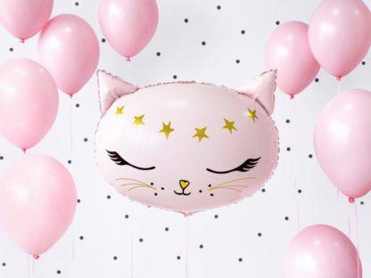 Różowe balony foliowe i balon w kształcie kotka