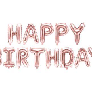 """Różowe złoto balony w kształcie liter ułożone w napis """"happy birthday"""""""