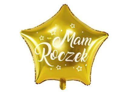 """Złoty balon w kształcie gwiazdki z napisem """"mam roczek"""""""