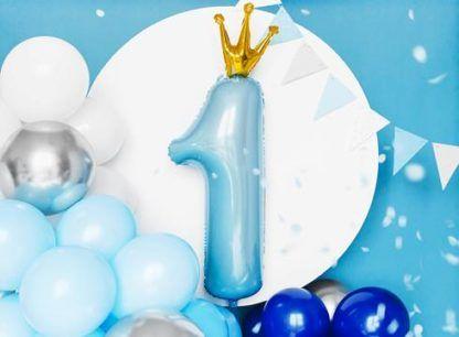 Niebieski balon foliowy w kształcie cyfry 1 z koroną