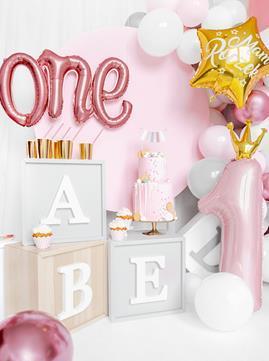 """Różowe balony foliowe w kształcie cyfry 1 i napisu """"one"""""""