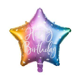 """Tęczowy balon foliowy w kształcie gwiazdki z napisem """"happy birthday"""""""