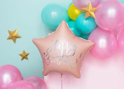 Balon foliowy w kształcie gwiazdki w kolorze pudrowego różu