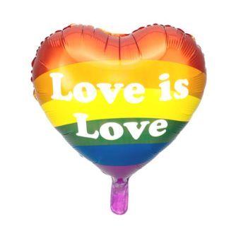 """Tęczowy balon foliowy w kształcie serca z napisem """"Love is love"""""""
