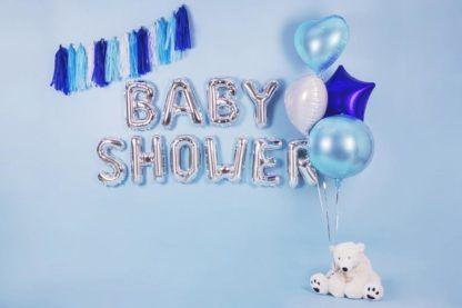 Balon y foliowe w niebieskich i srebrnych odcieniach