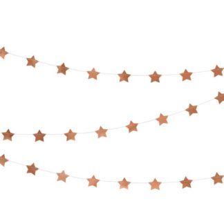 Girlanda w różowe złoto gwiazdki