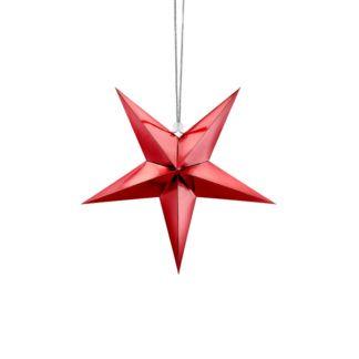 Czerwona papierowa gwiazdka ozdobna