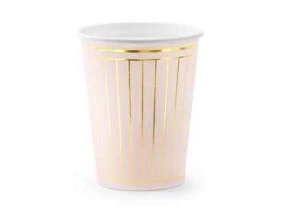 Różowy kubeczek papierowy w złote paski