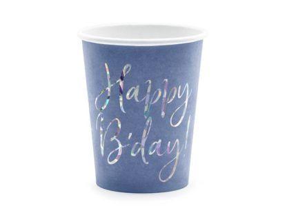 """Granatowy kubek papierowy """"happy birthday"""""""