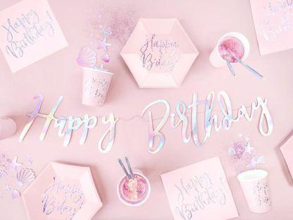 """Różowa dekoracja na urodziny - papierowe talerzyki i kubeczki z napisami """"happy birthday"""""""
