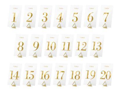 Transparentne numery na stół od 1 do 20