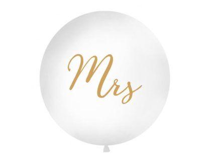 Biały balon ze złotym napisem Mrs