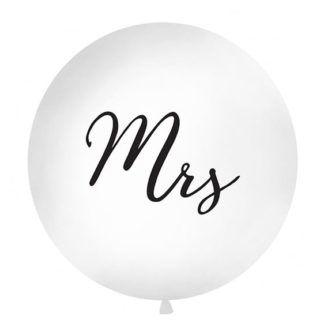 Biały balon z czarnym napisem Mrs