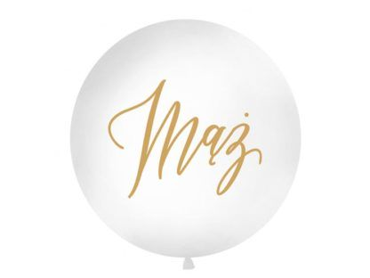 Biały balon ze złotym napisem mąż