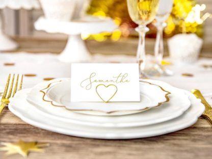 Złoty stojak w kształcie serca z winietką Samatha