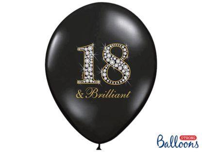Czarny balon lateksowy na 18 urodziny