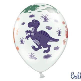 Balon lateksowy z rysunkiem fioletowego dinozaura